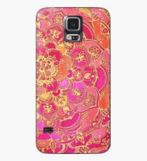 Pink und Gold Barock Blumenmuster Hülle & Klebefolie für Samsung Galaxy