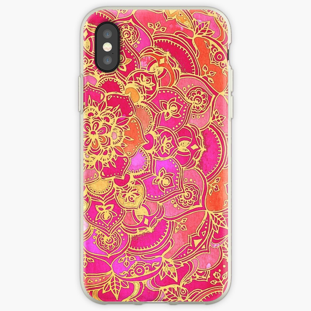 Pink und Gold Barock Blumenmuster iPhone-Hülle & Cover