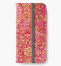 Vinilo o funda para iPhone Patrón floral barroco rosa y oro caliente