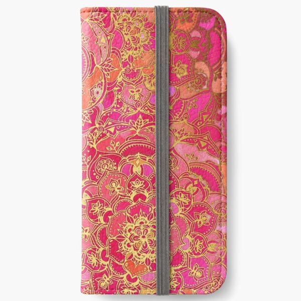 Hot Pink and Gold Baroque Floral Pattern iPhone Wallet