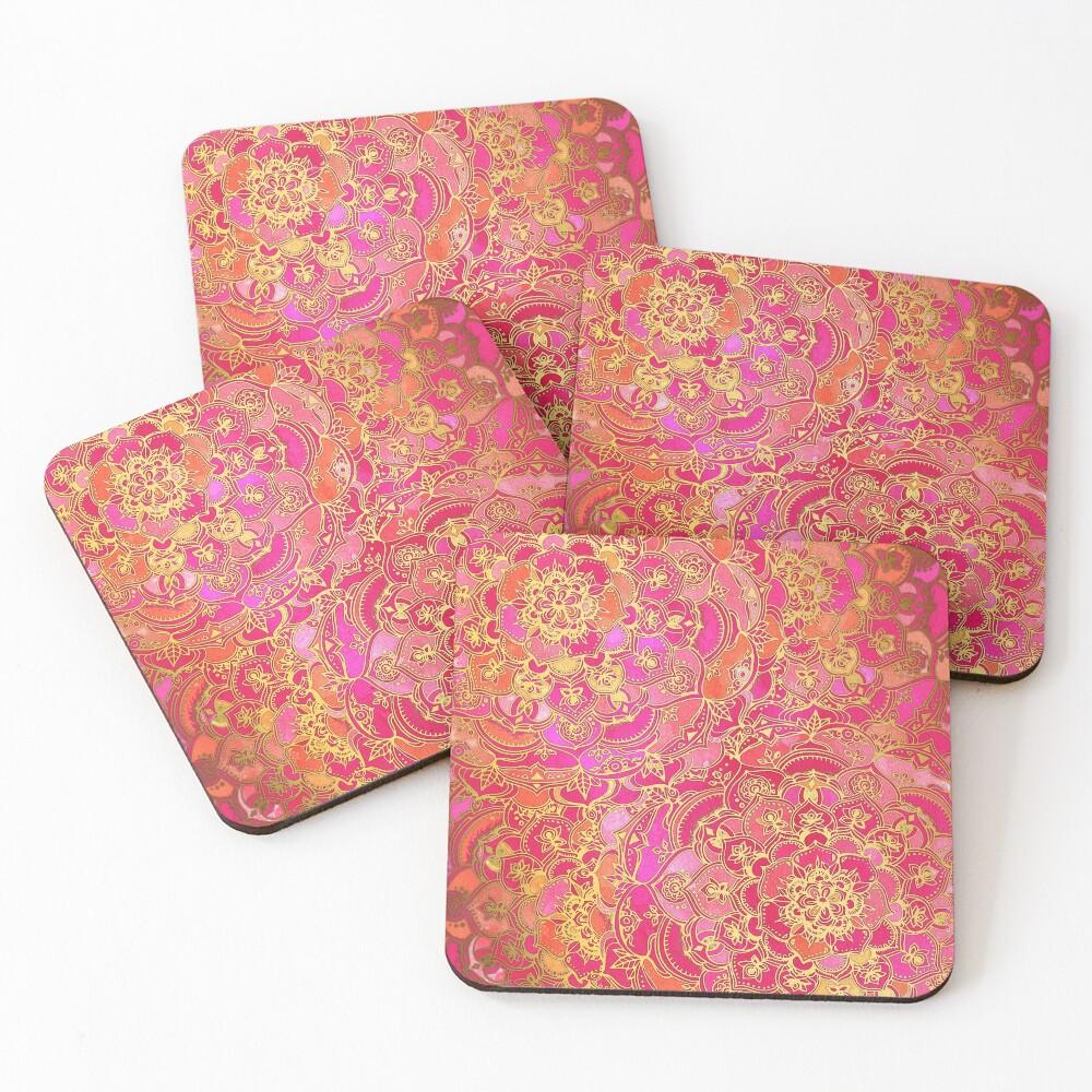Pink und Gold Barock Blumenmuster Untersetzer (4er Set)