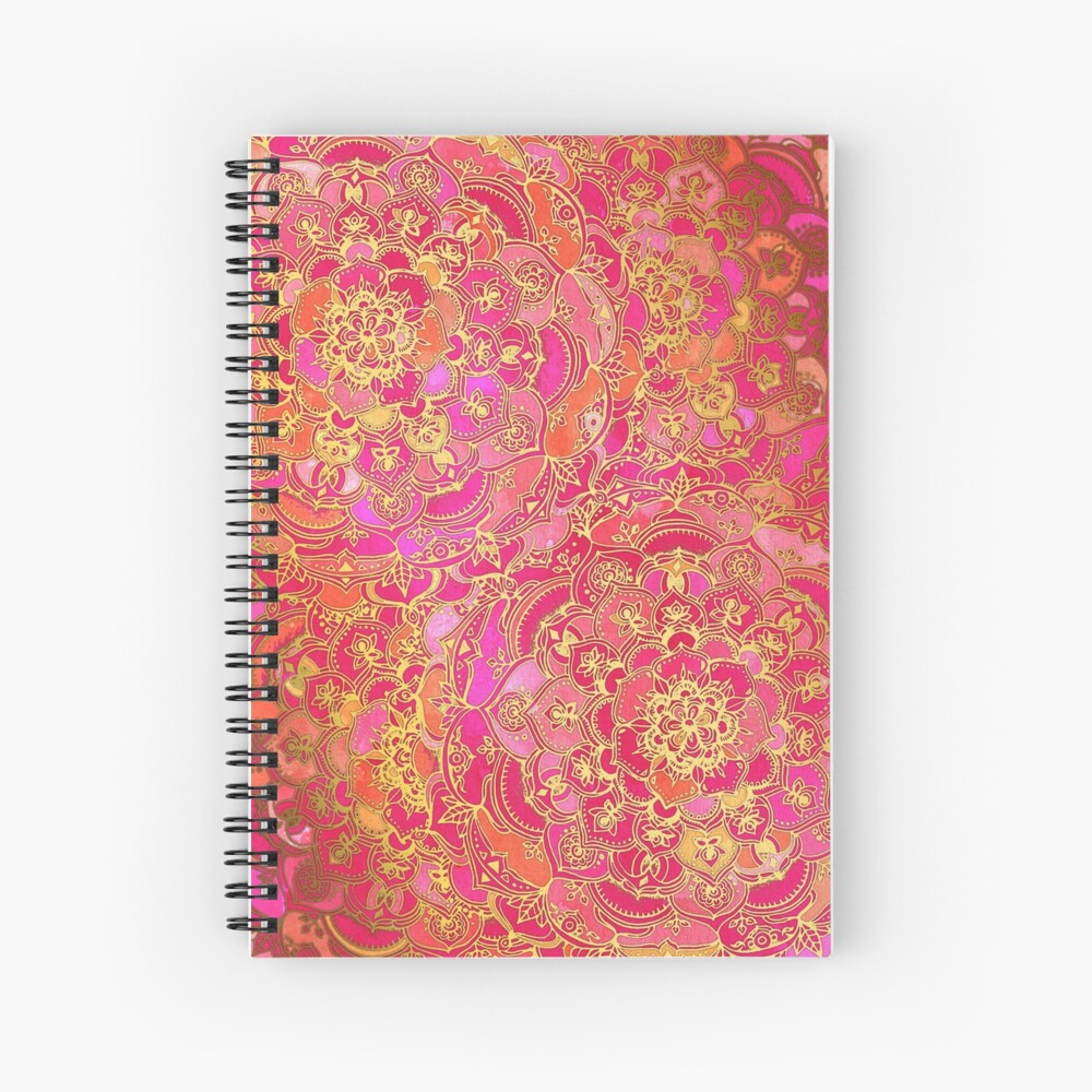Hot Pink and Gold Baroque Floral Pattern Spiral Notebook