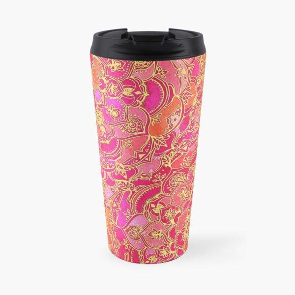 Hot Pink and Gold Baroque Floral Pattern Travel Mug