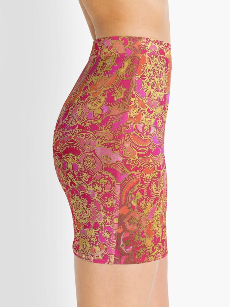 Alternate view of Hot Pink and Gold Baroque Floral Pattern Mini Skirt