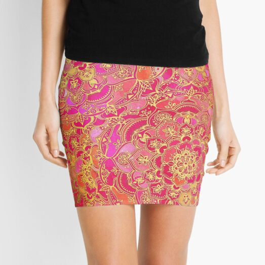 Hot Pink and Gold Baroque Floral Pattern Mini Skirt