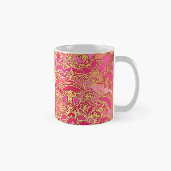 Hot Pink and Gold Baroque Floral Pattern Classic Mug