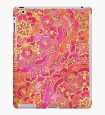 Hot Pink and Gold Baroque Floral Pattern iPad Case/Skin