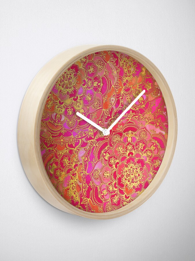 Alternative Ansicht von Pink und Gold Barock Blumenmuster Uhr