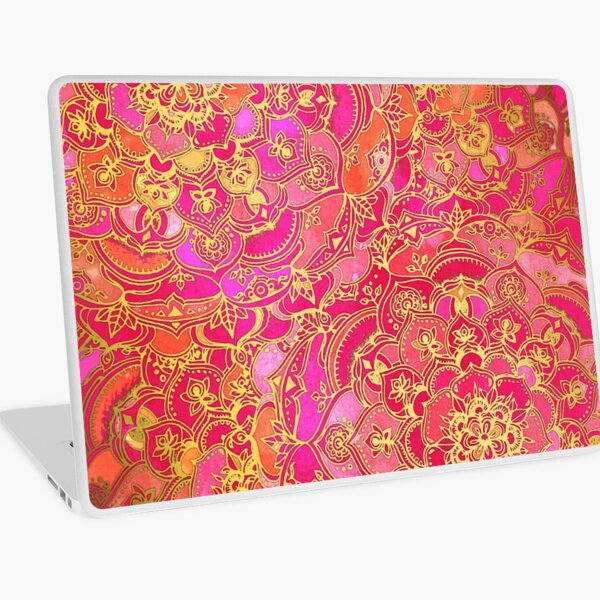 Hot Pink and Gold Baroque Floral Pattern Laptop Skin