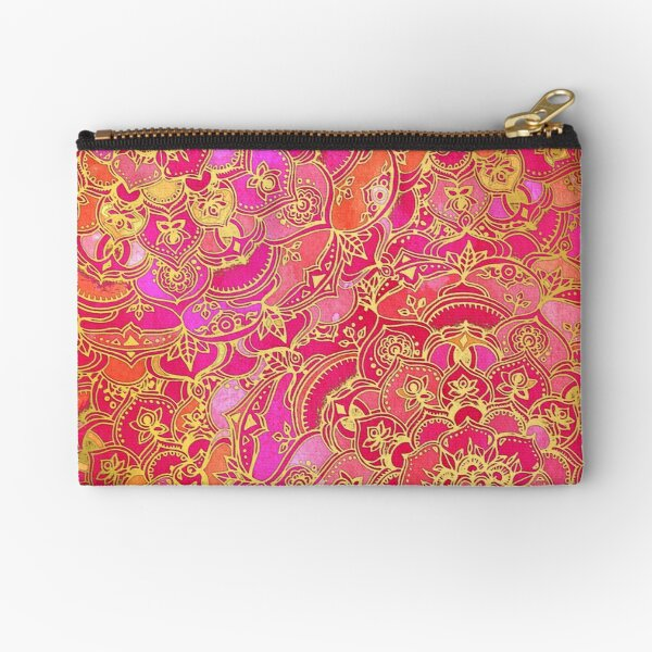 Hot Pink and Gold Baroque Floral Pattern Zipper Pouch