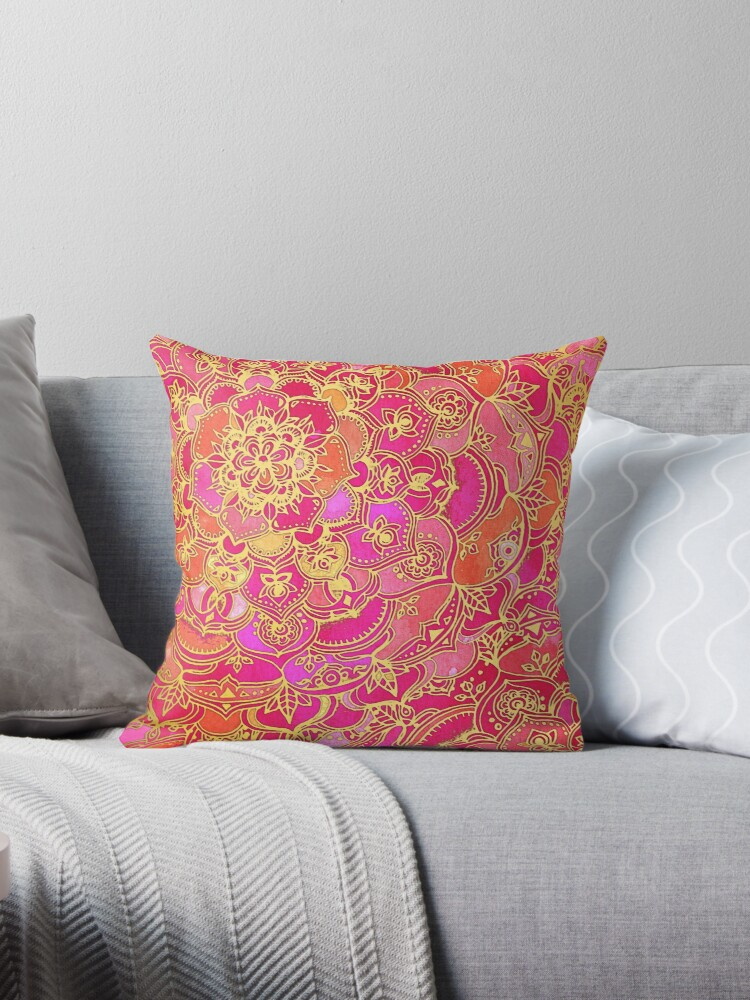 Quot Hot Pink And Gold Baroque Floral Pattern Quot Throw Pillow By