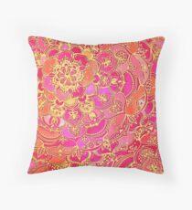 Cojín Patrón floral barroco rosa y oro caliente