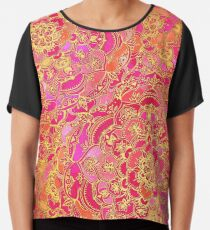 Hot Pink and Gold Baroque Floral Pattern Chiffon Top