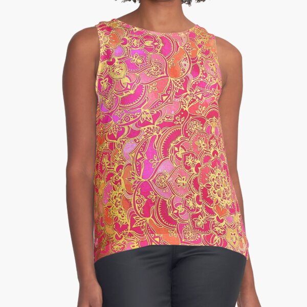 Hot Pink and Gold Baroque Floral Pattern Sleeveless Top