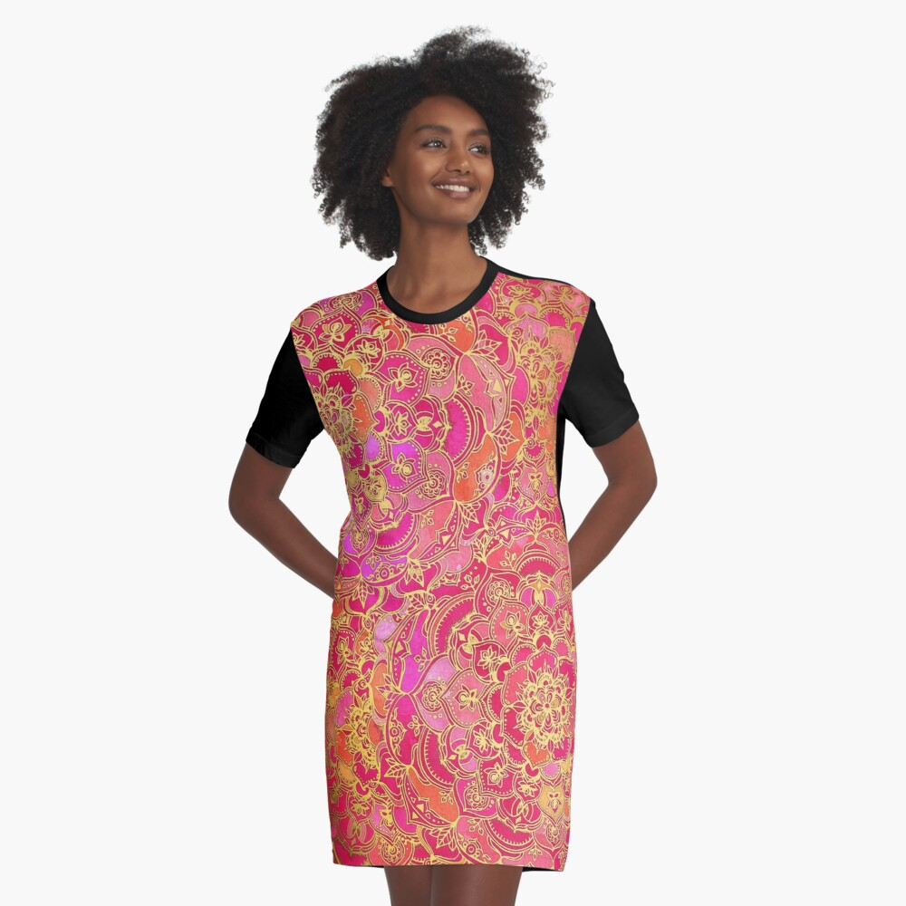 Hot Pink and Gold Baroque Floral Pattern Graphic T-Shirt Dress
