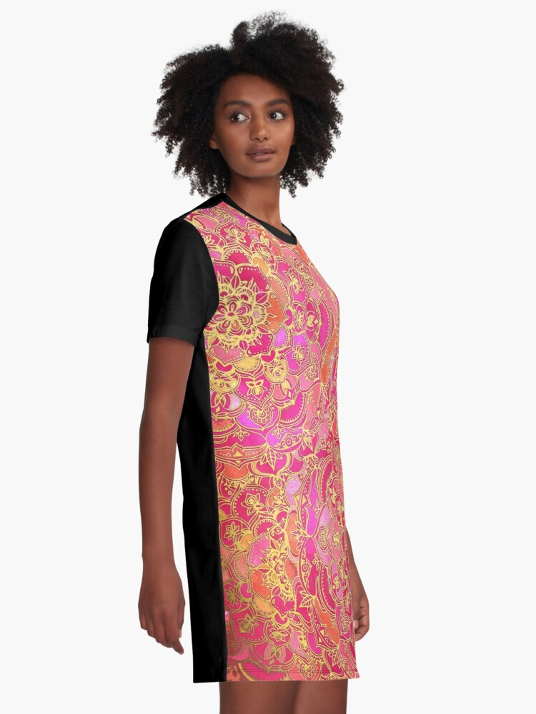 Alternate view of Hot Pink and Gold Baroque Floral Pattern Graphic T-Shirt Dress