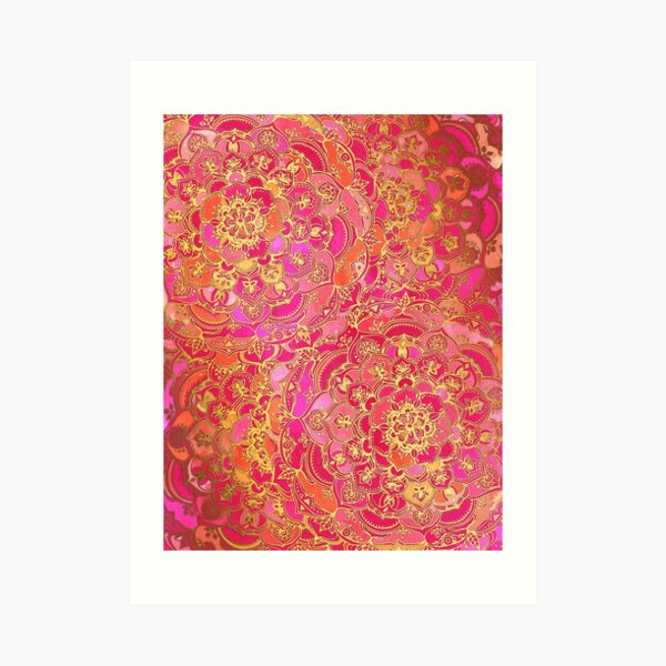 Hot Pink and Gold Baroque Floral Pattern Art Print