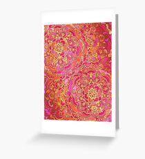 Pink und Gold Barock Blumenmuster Grußkarte