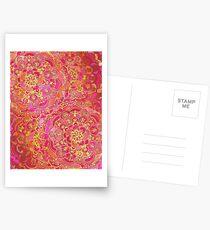 Postales Patrón floral barroco rosa y oro caliente