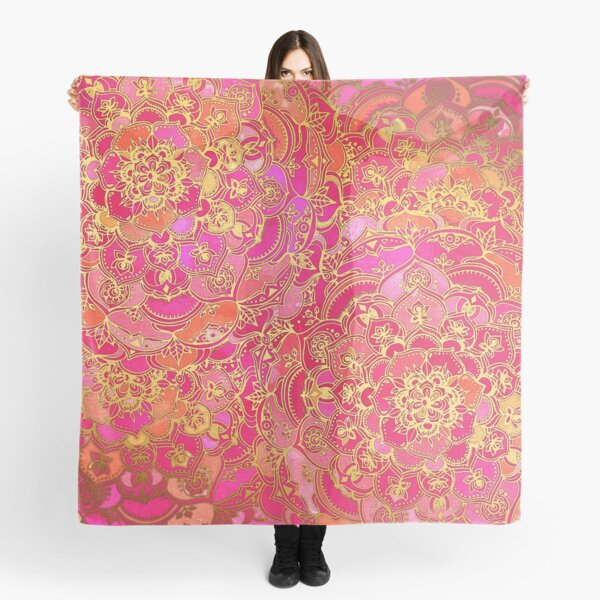 Hot Pink and Gold Baroque Floral Pattern Scarf