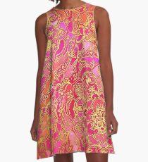 Pink und Gold Barock Blumenmuster A-Linien Kleid