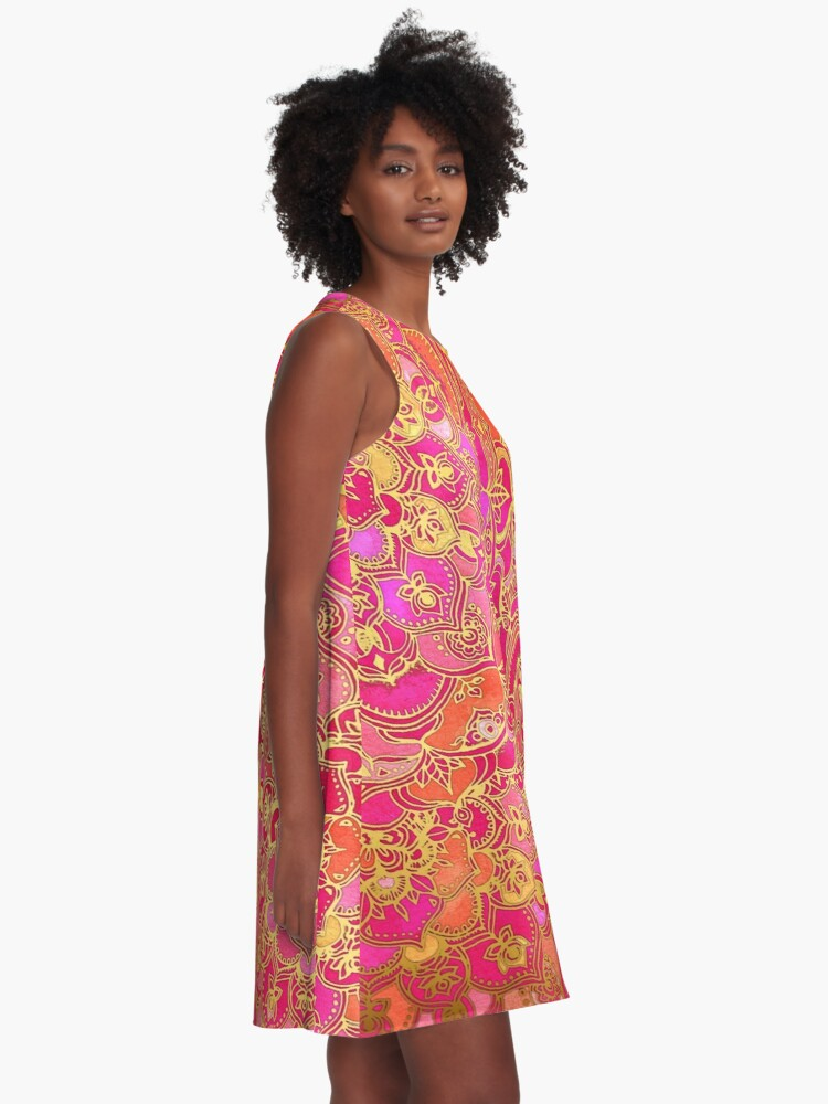 Alternate view of Hot Pink and Gold Baroque Floral Pattern A-Line Dress