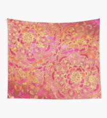 Pink und Gold Barock Blumenmuster Wandbehang