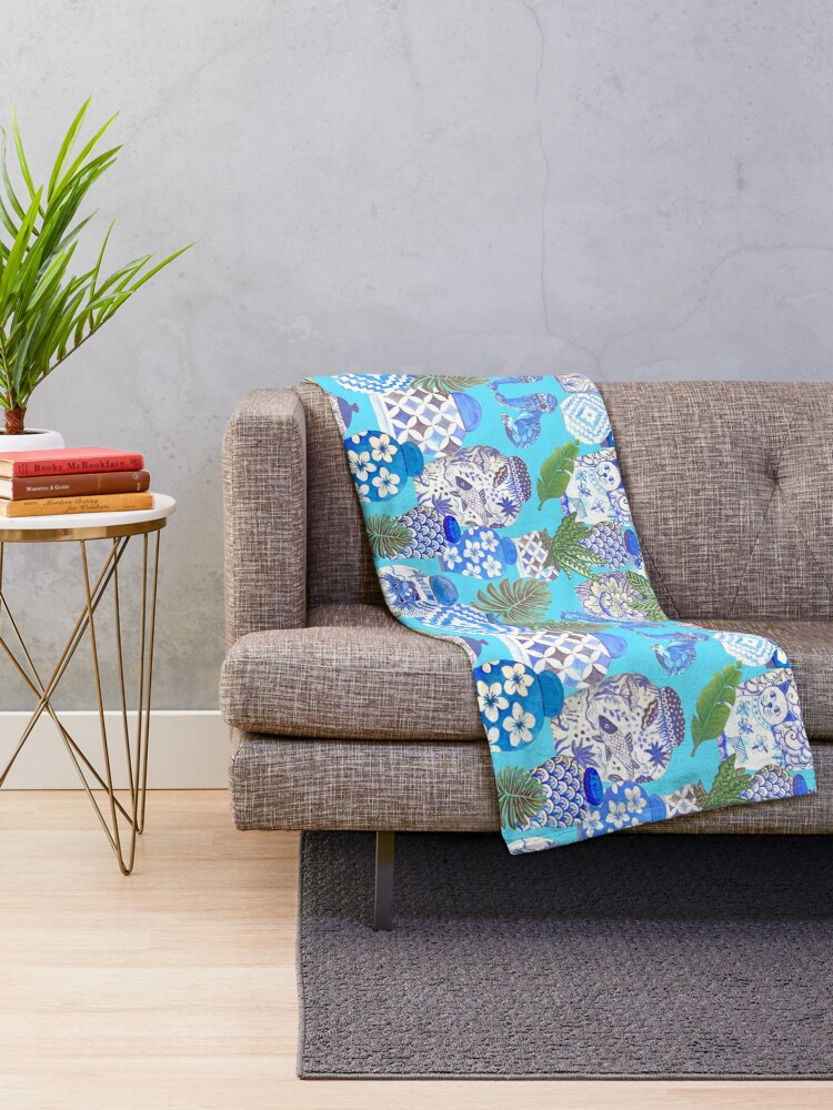 Alternate view of Chinese ginger jars with foo dogs on teal Throw Blanket
