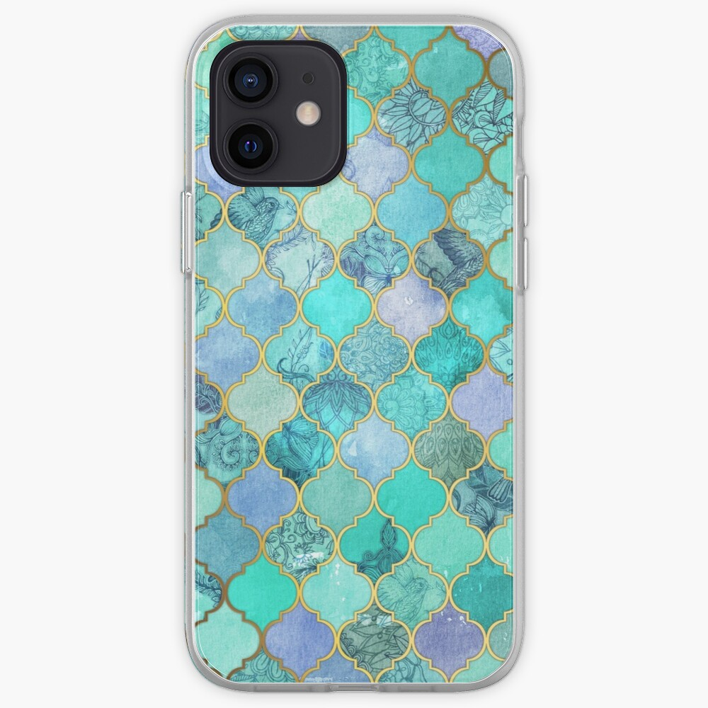 Cool Jade & Icy Mint Decorative Moroccan Tile Pattern iPhone Case & Cover