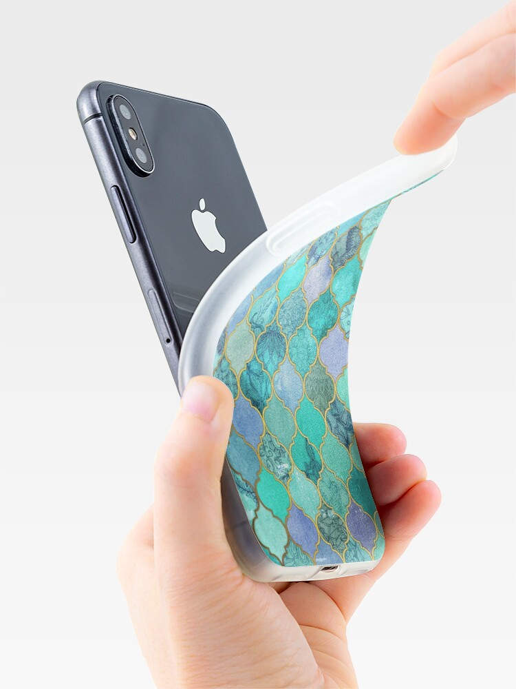 Alternate view of Cool Jade & Icy Mint Decorative Moroccan Tile Pattern iPhone Case & Cover