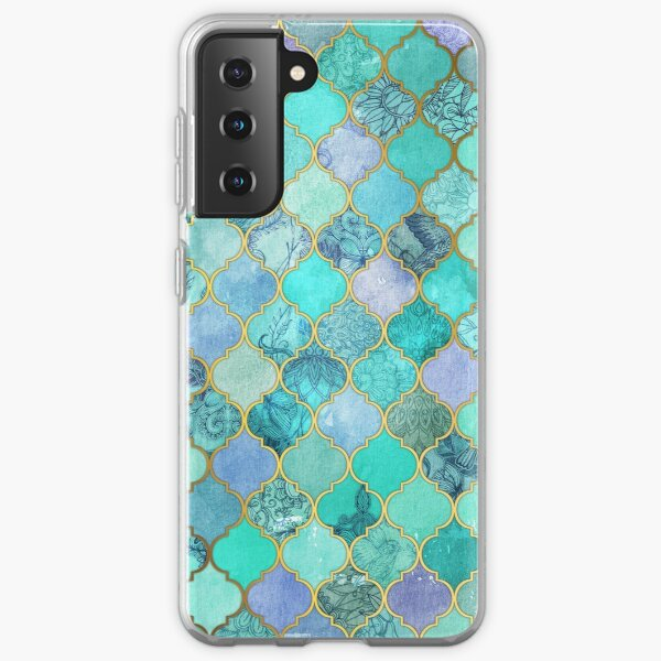 Cool Jade & Icy Mint Decorative Moroccan Tile Pattern Samsung Galaxy Soft Case
