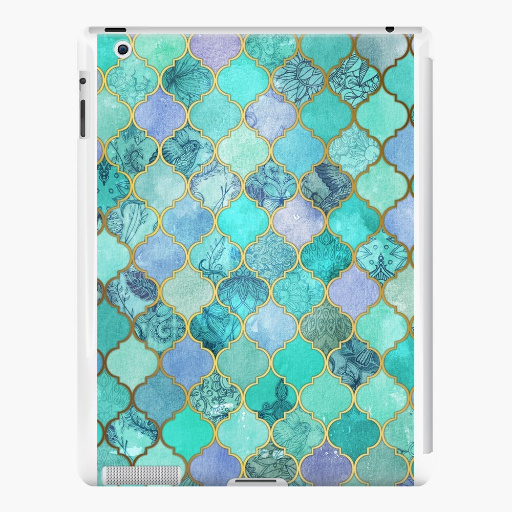 Patrón de mosaico marroquí fresco de Jade & Icy Mint decorativo Vinilos y fundas para iPad