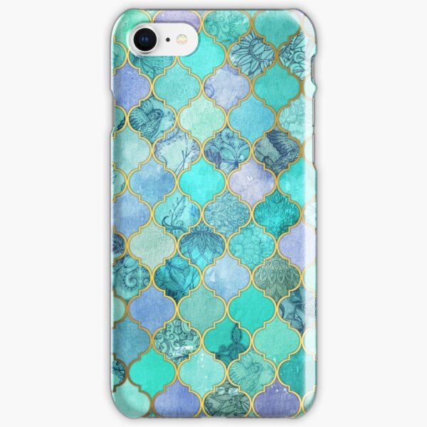 Cool Jade & Icy Mint Decorative Moroccan Tile Pattern iPhone Snap Case
