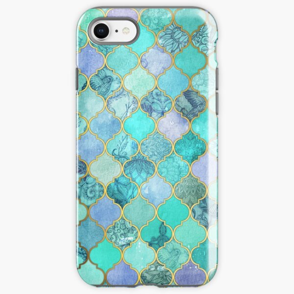 Cool Jade & Icy Mint Decorative Moroccan Tile Pattern iPhone Tough Case