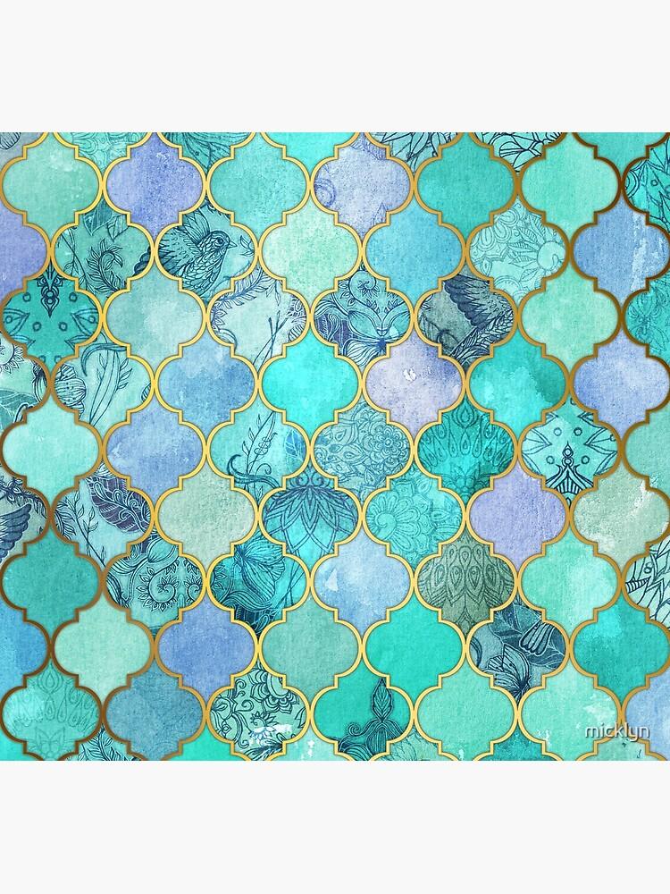 Patrón de mosaico marroquí fresco de Jade & Icy Mint decorativo de micklyn