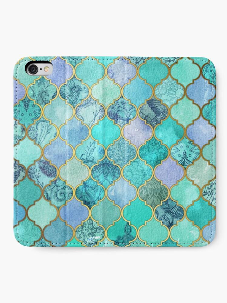 Vista alternativa de Fundas tarjetero para iPhone Patrón de mosaico marroquí fresco de Jade & Icy Mint decorativo