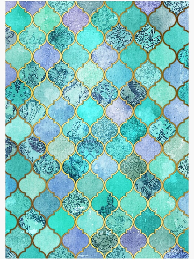 Cool Jade & Icy Mint Decorative Moroccan Tile Pattern by micklyn