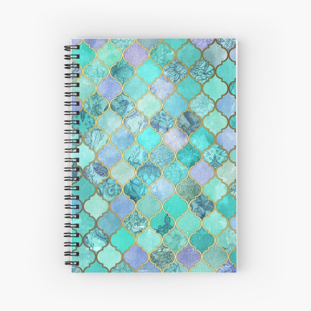 Cool Jade & Icy Mint Decorative Moroccan Tile Pattern Spiral Notebook