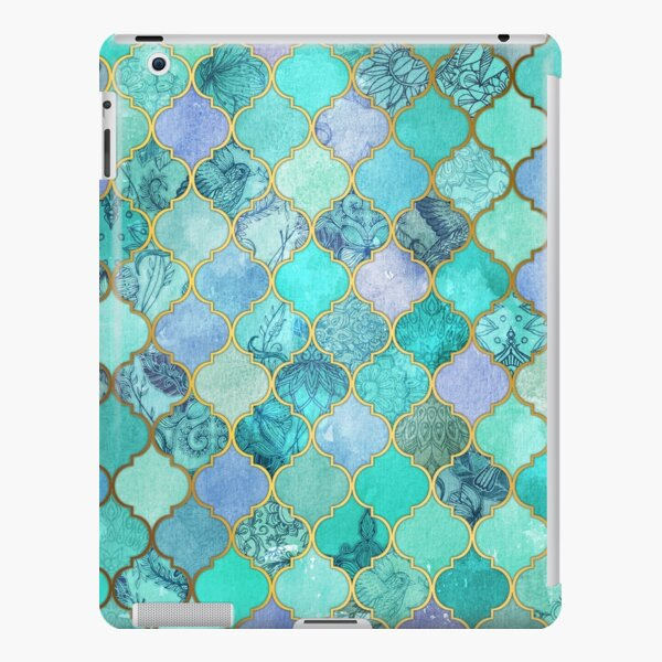Cool Jade & Icy Mint Decorative Moroccan Tile Pattern iPad Snap Case