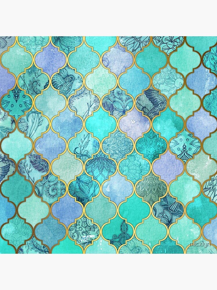 Patrón de mosaico marroquí fresco de Jade & Icy Mint decorativo de micklyn