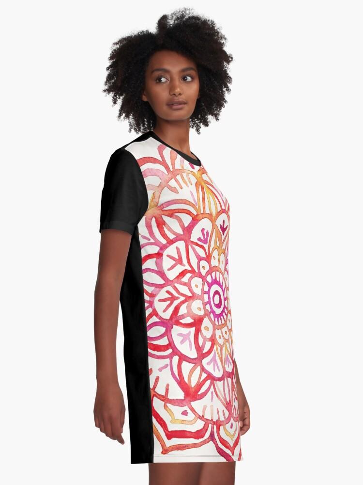 Alternative Ansicht von Aquarell Medaillon in den Farben des Sonnenuntergangs T-Shirt Kleid