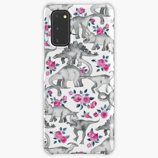Dinosaurs and Roses – white Samsung Galaxy Snap Case