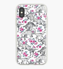 Dinosaurs and Roses – white iPhone Case