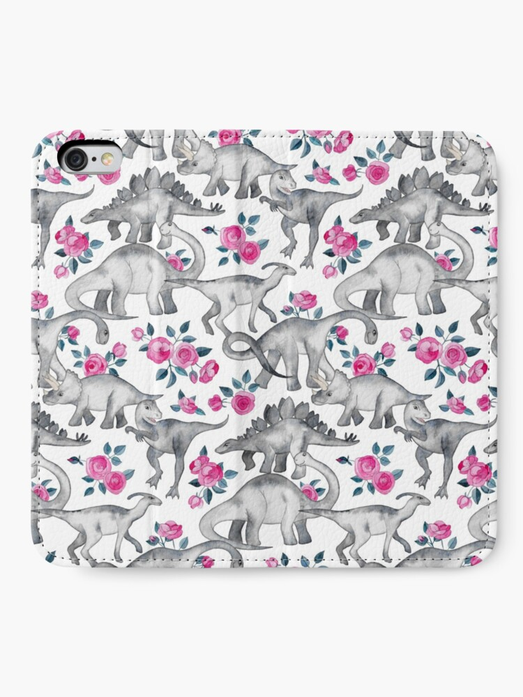 Alternate view of Dinosaurs and Roses – white iPhone Wallet