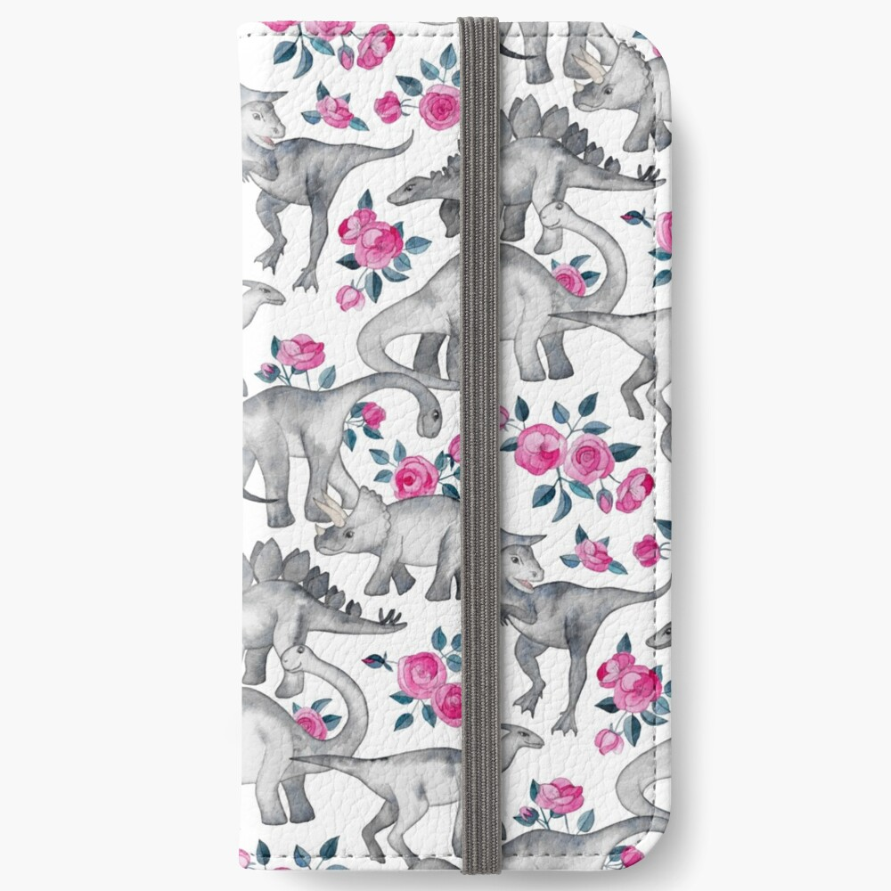 Dinosaurs and Roses – white iPhone Wallet