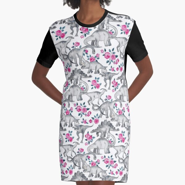 Dinosaurs and Roses – white Graphic T-Shirt Dress
