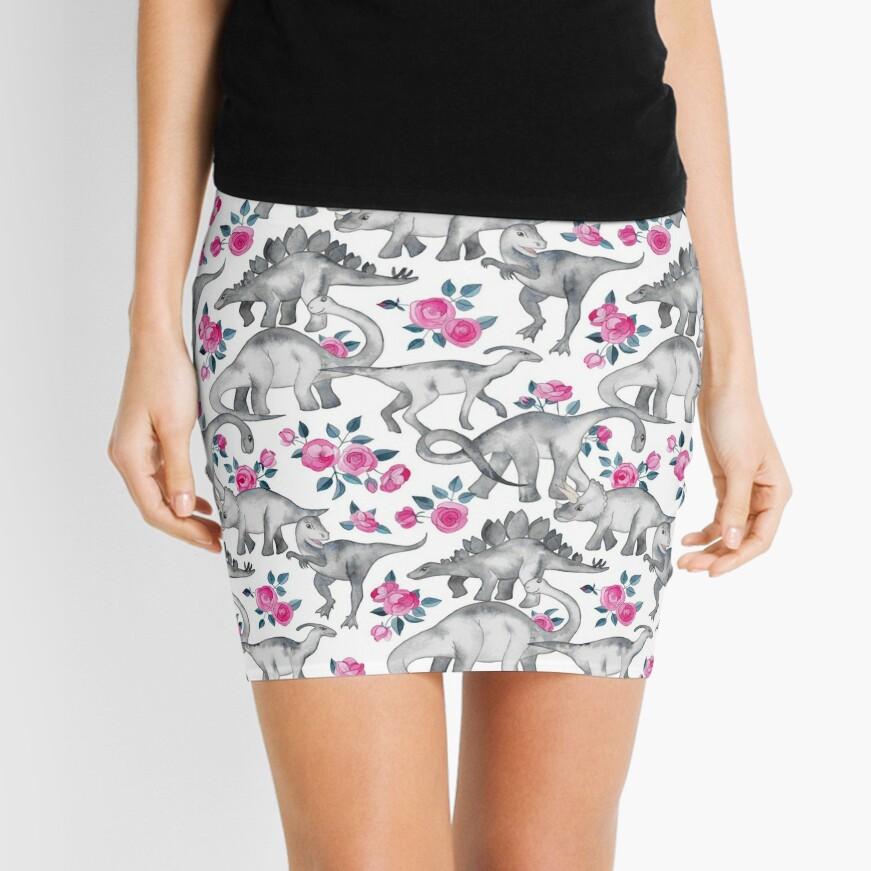 Dinosaurios y rosas - blanco Minifalda