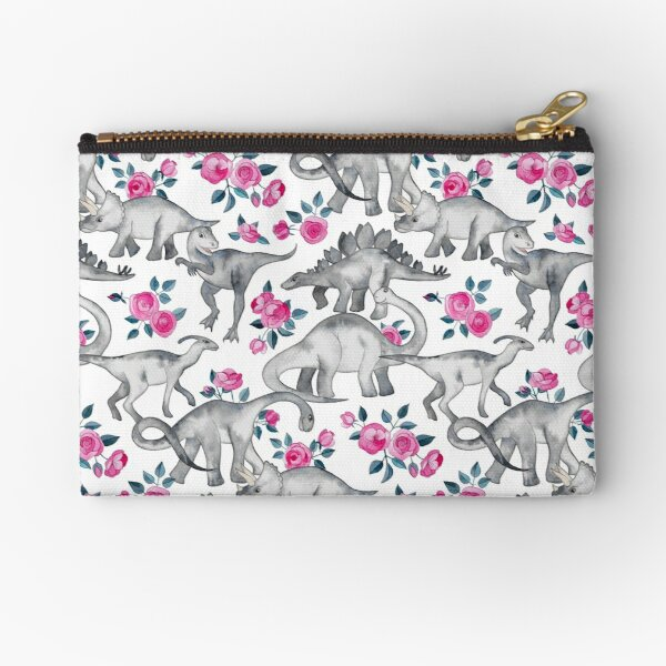 Dinosaurs and Roses – white Zipper Pouch