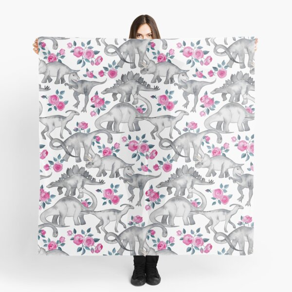 Dinosaurs and Roses – white Scarf