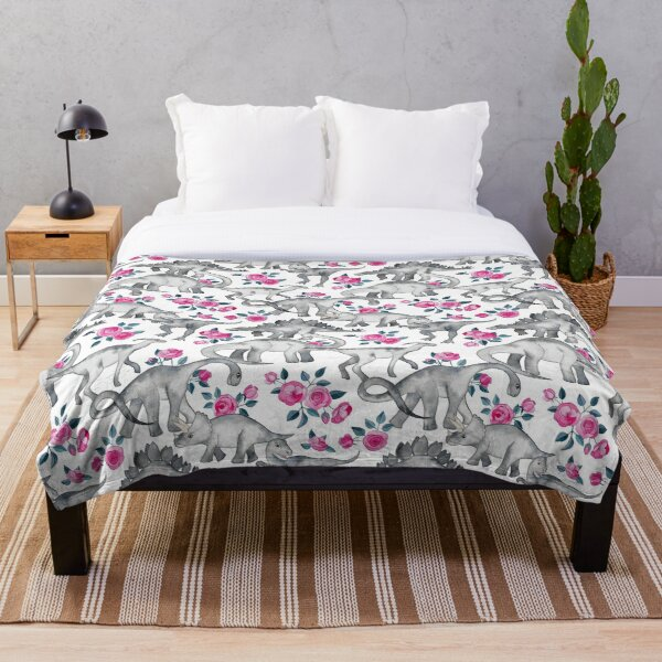 Dinosaurs and Roses – white Throw Blanket